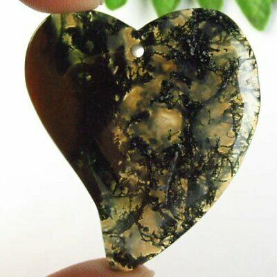 R94215 Natural Green Moss Agate Heart Pendant Bead 49x43x5mm