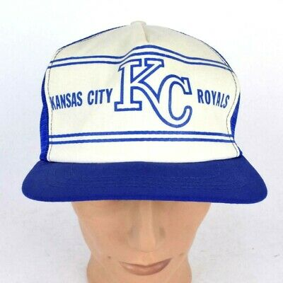 Vintage 1970s KC Royals Blue Trucker Hat Snap Back Baseball Cap Kansas City Mens