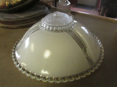 Vintage antique 30s glass ceiling fixture light cover lamp dome shade art deco
