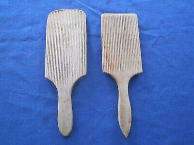 ANTIque BUTTER PADDLES Pat Wooden Grooved Country Kitchenware Primitive Kitchen