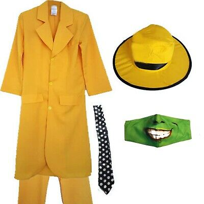 Mens Adults Yellow Suit Hat Tie Mask Halloween Fancy Dress Costume Movie Film