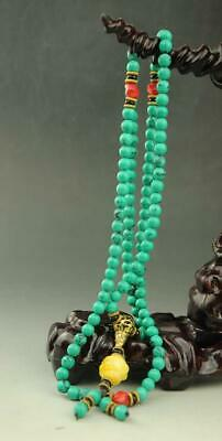 Elegant Chinese natural   Turquoise hand woven necklace  a01