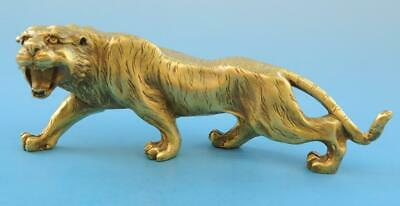 Chinese old fengshui copper hand-carved Chinese zodiac tiger statue f01