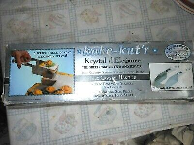 Usa Kake Kut'r Vintage Cake Cutter Server Stainless Crystal Handles Party Boxed
