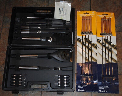 B&Q Blooma 16 Piece Barbeque BBQ Tool Utensil Set + Case + 8 x Bondi Skewers