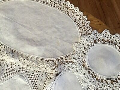 10 Vintage Linen and crocheted Doilies
