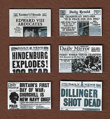 Six Hand-Made Dolls' House 1/12Th Scale 1930'S Newspapers