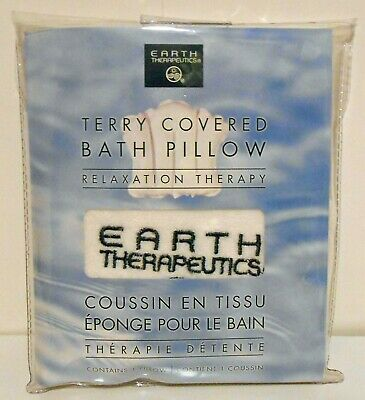 Earth Therapeutics Terry Covered Bath Pillow Inflatable Spa Travel Bathtub