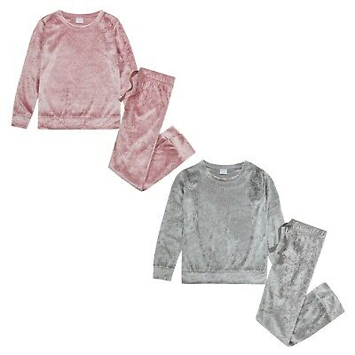 Girls Crushed Velvet PINK  SILVER Lounge Set Sweatshirt PERSONALISED EMBROIDERED