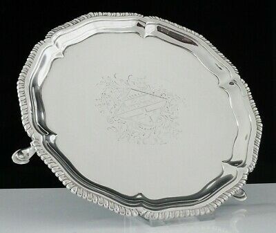 Antique Silver Card Tray(Amorial Crest),Thomas Hannam & John Carter, London 1766