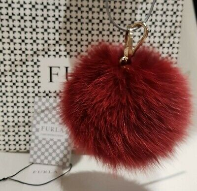 Authentic FURLA Bubble Keyring/ Bag Charm Pompom, Red - NEW with tag, was $149