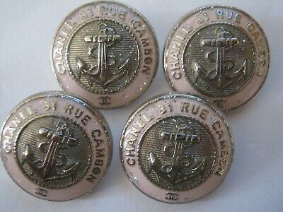 CHANEL 4 PINK SILVER  BUTTONS lot of 4 sz 17mm  metal ancher cc logo, 4
