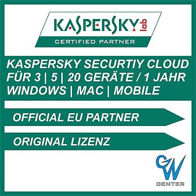 Kaspersky Security Cloud | 3 | 5 | 20 Geräte | 1 Jahr | PC Mac iOS Android |