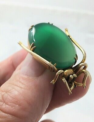 Antique 9ct Insect Bug Brooch Chrysophrase Art Deco G/Size Weight & Detail 6.9g