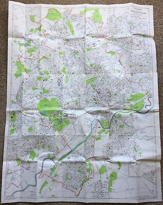 Old Geographia Plan of Nottingham with The National Grid Folded Map