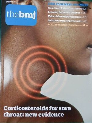 Bmj British Medical Journal 23 September 2017 Corticosteroids For Sore Throats