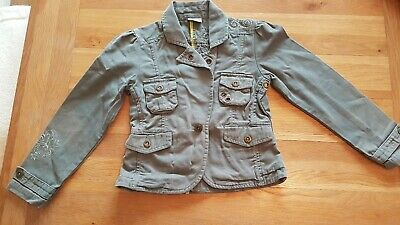 GIrls khaki jacket with pockets and heart patterns see all pics age 5-6 Next