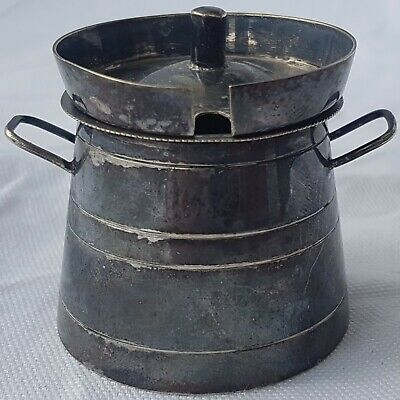 Unusual Silver Plate (E.P.N.S) Milk Churn Form Mustard Pot ~ Curiosity ~ Unique