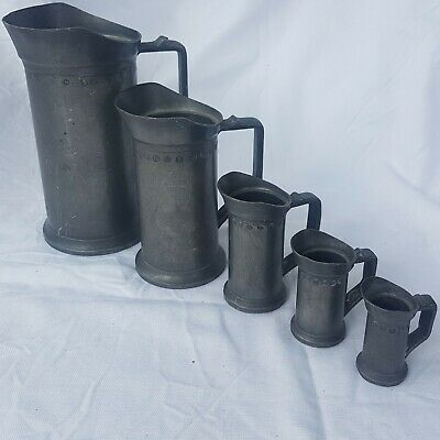 Rare Antique Set of French Graduated Pewter Measures. Early 19th Century