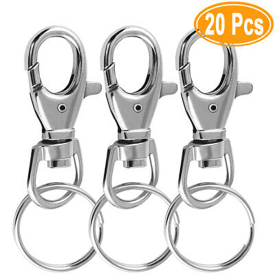 20 Silver tone Lobster Trigger Swivel Clasps for Keyring Hook 38 x 16mm Key UK