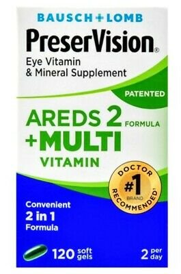 BAUSCH & LOMB PreserVision Areds 2 + Multi Vitamin 120 Softgels - FREE SHIPPING!
