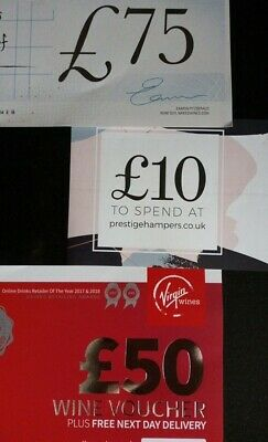 Vouchers Worth £135 wine & Hampers valid until 19th August & 30th November 2019