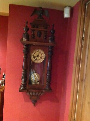 antique Clock Vienna Regulator German Wall Clock Chime horloge circa old d.r p