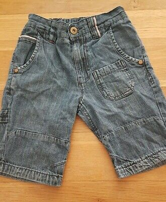 Boys dark blue soft denim shorts adjustable waist age 5 next