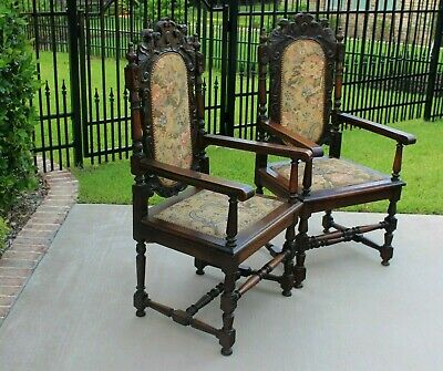 PAIR Antique English Oak Chairs Needlepoint Throne Fireside Chairs CARVED Birds