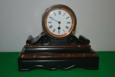 Antique French Black Slate and Rouge Marble Drum Head Mantle Clock.