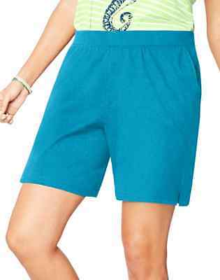 Just My Size Plus Size Pull On Shorts Cotton Knit Blue  1X  3X