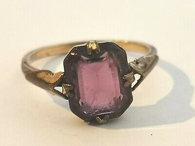 Beautiful Antique Ring With Purple Stone Stamped Inside - Metal Detecting Find