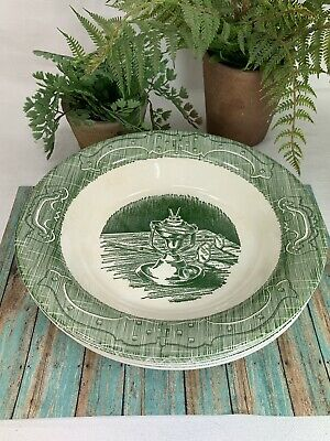4 Royal China The Old Curiosity Shop Rimmed Soup Bowls Green