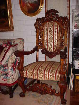 Pair Of Antique 0Ak Carved Throne Or High Back Upholstered Chairs