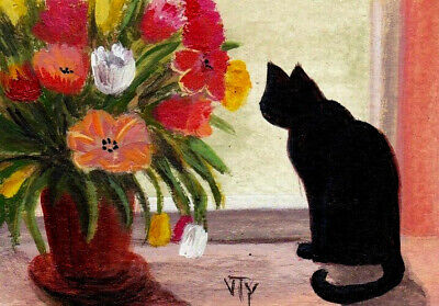 ACEO original painting animals  black cat flowers summer signed by T.Volokhova