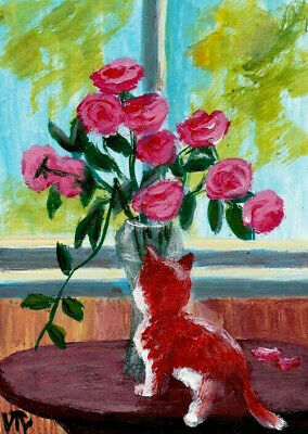 ACEO original painting cat animals kitten flowers summer signed by T.Volokhova