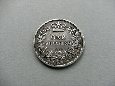 """Queen Victoria """"Young Head"""" 1875 Die No.57 Silver Shilling Coin.Ref Spink 3906A."""