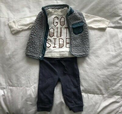 EUC Old Navy Baby Boys Go Outside Three Piece Pants & Vest Outift Set 3-6 Mos.