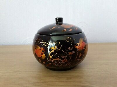 Vintage Japanese lacquer small lidded bowl with goldfish
