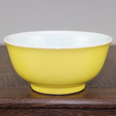 Chinese old hand-carved porcelain yellow glaze A small bowl b02
