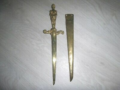 "Vintage Brass Knight Letter Opener 11.5"" in Brass Hanging Sheath"