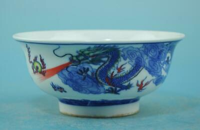 Chinese old Blue and White porcelain dragon pattern bowl /qianlong mark b01