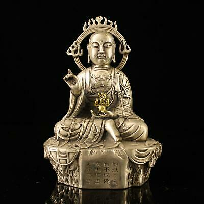 china old Copper plating silver handmade gold drawing kshitigarbha statue d01D
