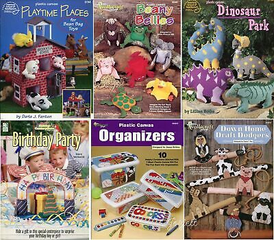 Lot of 6 Plastic Canvas Pattern Booklets, 40+ Playtime Toys & More Projects NEW