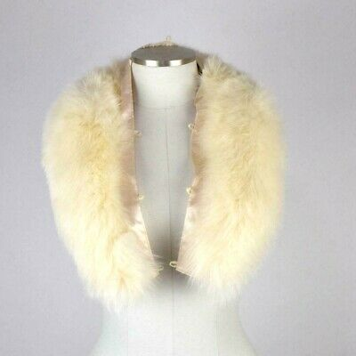 "Soft Luxe White Fox Fur Collar Button On Neck Wrap Shawl Removable 36"" Long"