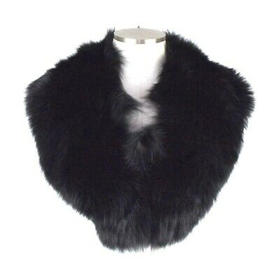 """Soft Luxe Black Fox Fur Collar Button On Neck Wrap Shawl Removable 36"""" Long"""