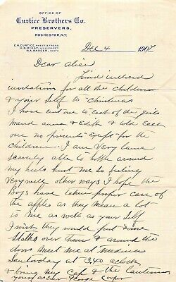 Curtice Brothers Canning Preserves Rochester NY Antique Signed Letterhead 1907