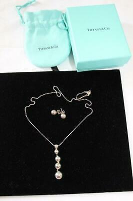Vintage TIFFANY & CO Sterling Silver Drop Beads Necklace & Earrings