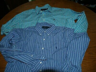 Lot Of 2~Mens~Polo By Ralph Lauren Button Fron Shirts~Sz Xl~Long Sleeve Striped