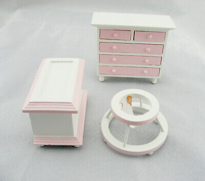 1:12 Dolls House wooden Furniture for Baby Room Pink and White Colour